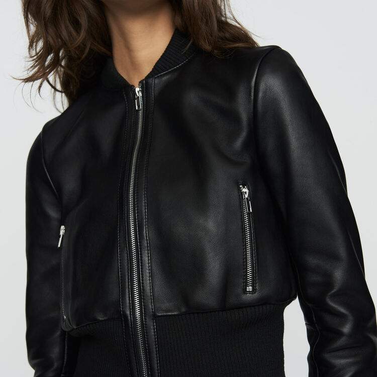 Leather bomber : Coats & Jackets color Black 210