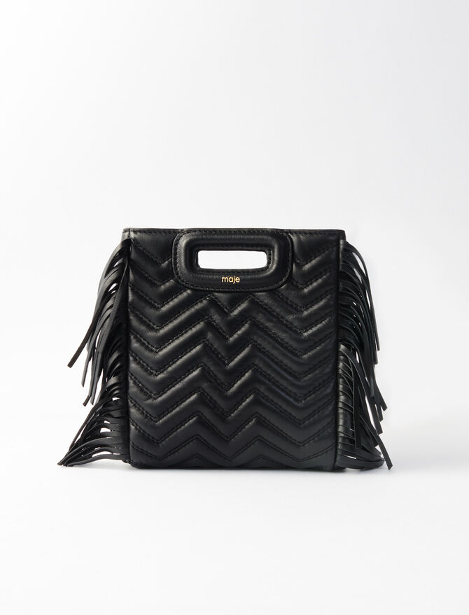 Quilted Mini M Bag with Leather Fringe - M Mini - MAJE