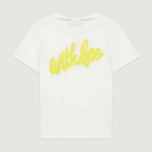 Tee-shirt with embroidered slogan : Tops & Shirts color White
