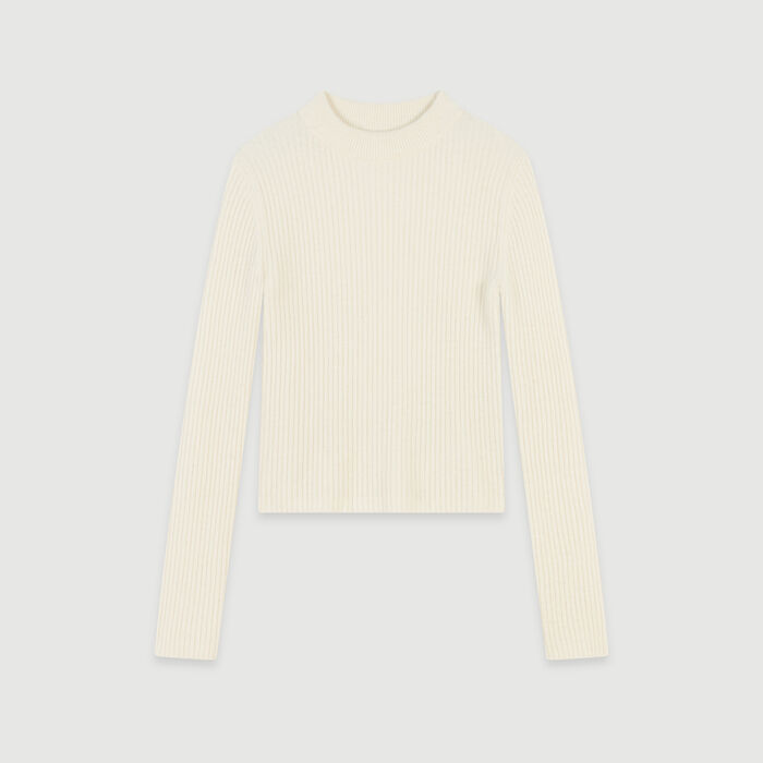 Ribbed turtleneck sweater : Sweaters color Ecru