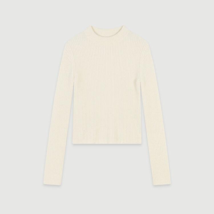 Ribbed turtleneck sweater : Sweaters color Ecru