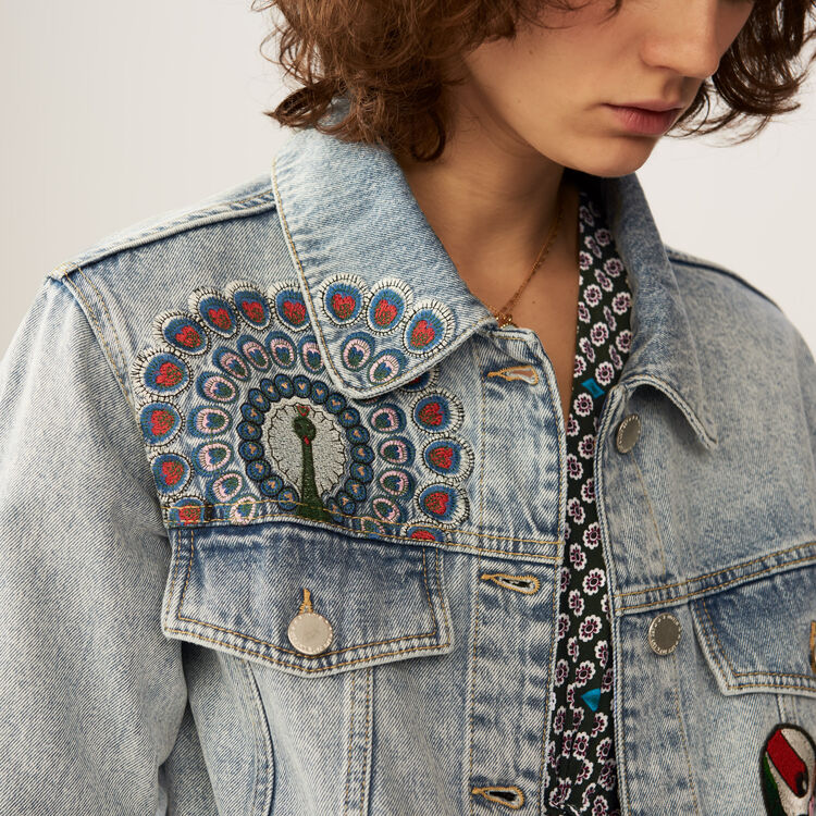 Embroidered denim vest : Coats & Jackets color Denim