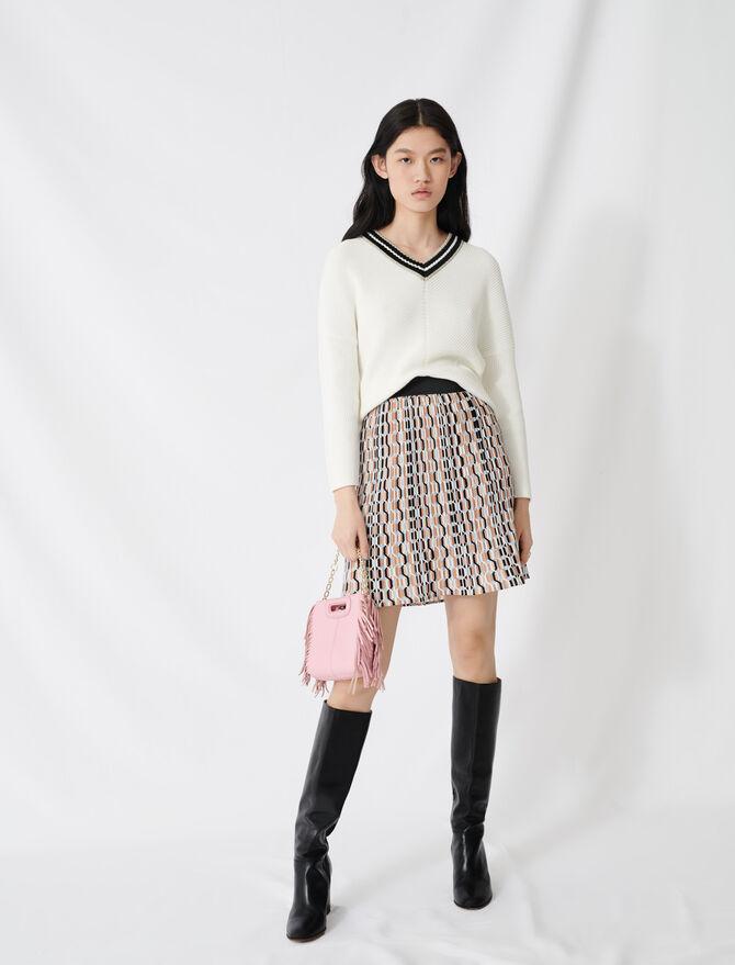 V-neck sweater in decorative knit - Sweaters - MAJE
