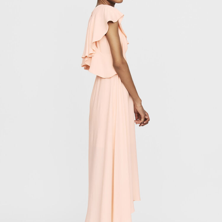 Long sleeveless asymmetric crepe dress : Dresses color PECHE