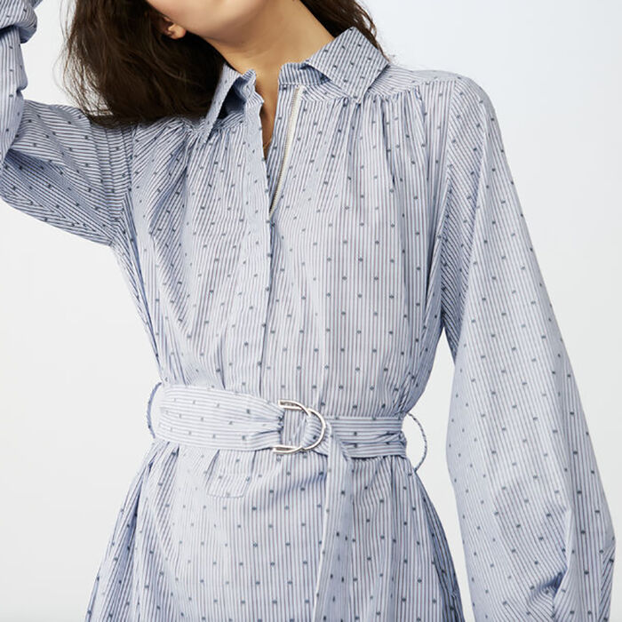 Long blouse-dress with buckle belt : Spring 2018 color Blue
