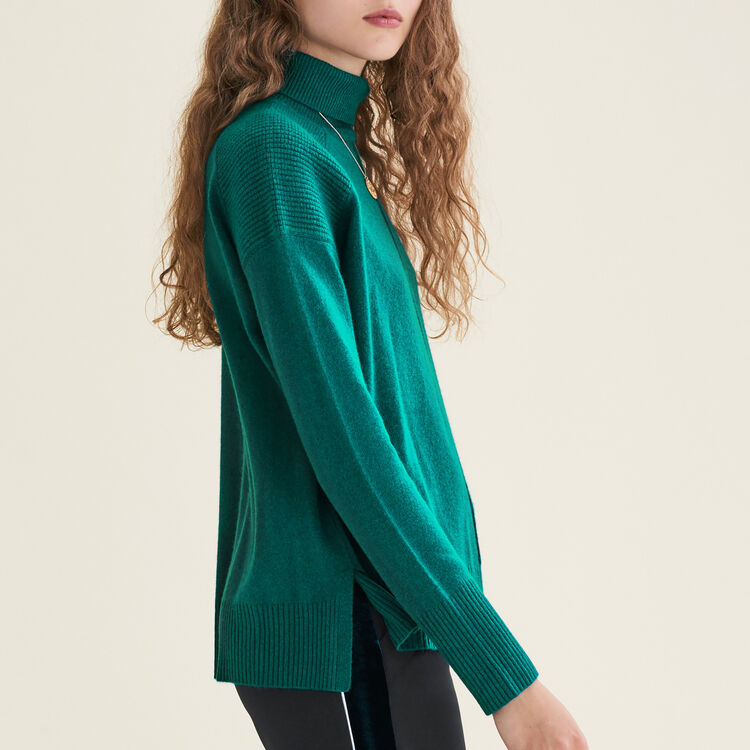 Cashmere roll-neck jumper : Sweaters color GREEN