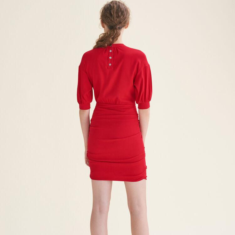 Draped dual-material dress : Dresses color Red