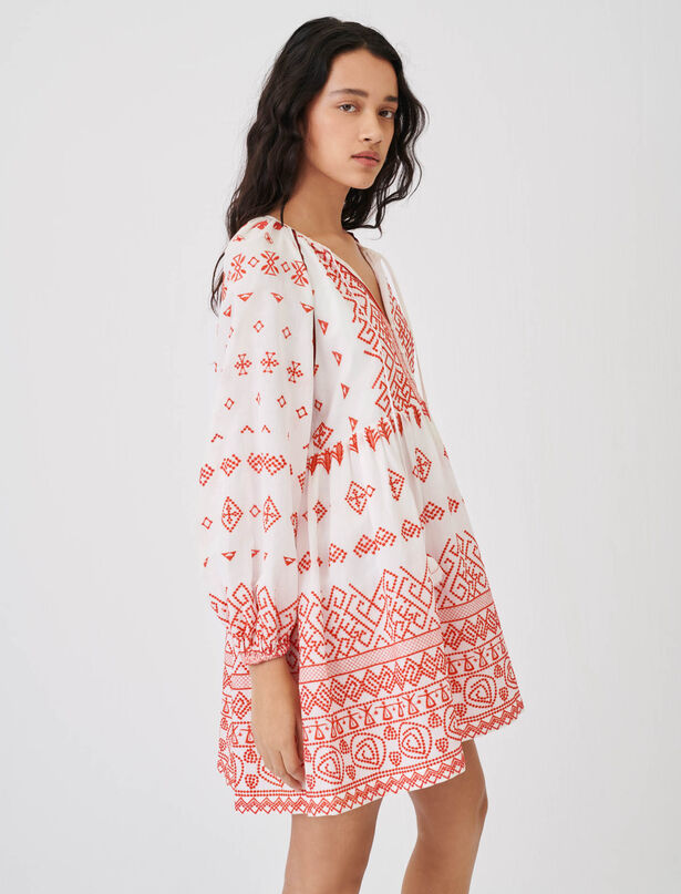 Maje Baby-doll style embroidered dress