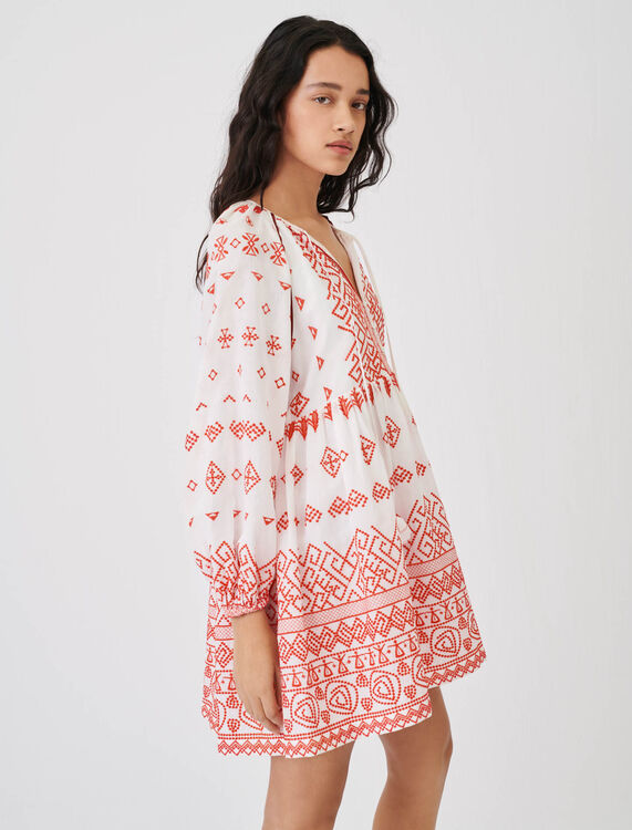 Baby-doll style embroidered dress - Dresses - MAJE
