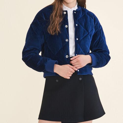Cropped velvet bomber jacket : Coats & Jackets color Navy