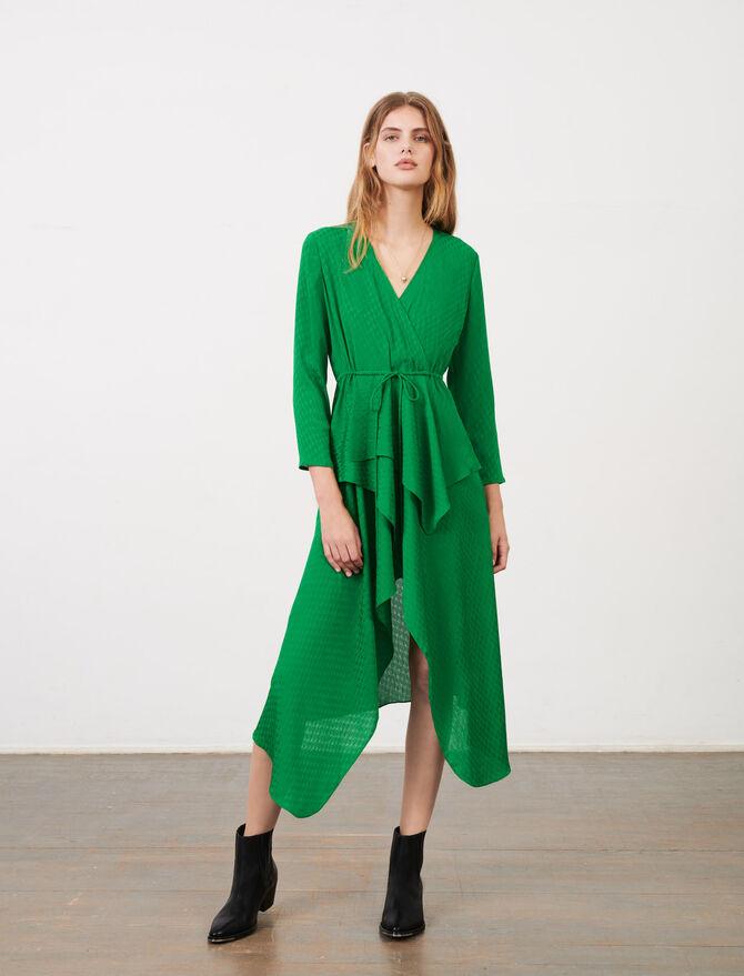 Printed satin jacquard dress - Dresses - MAJE