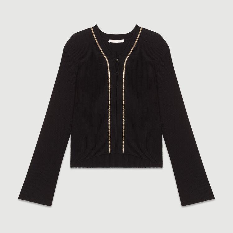 Long sleeves cardigan : Sweaters color Black 210