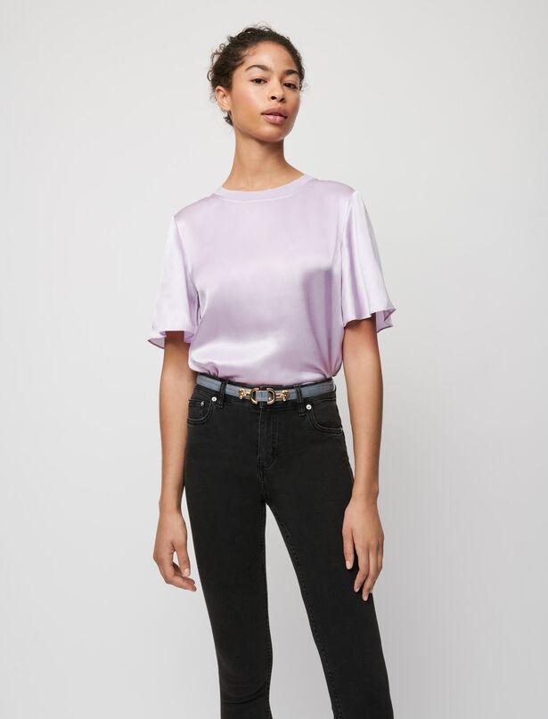마쥬 티셔츠 MAJE Mixed material silk and cotton T-shirt