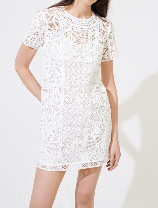 Macramé-style summer dress : Dresses color White