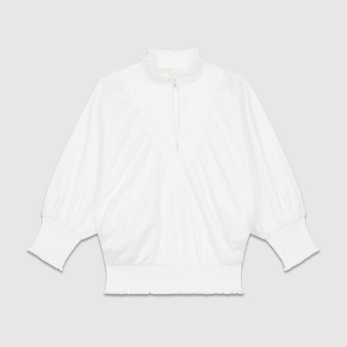 Smocked cotton poplin blouse : Tops & T-Shirts color White