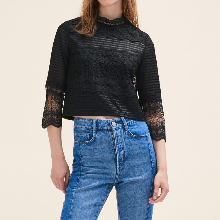 Cropped lace top : Tops & Shirts color Black 210