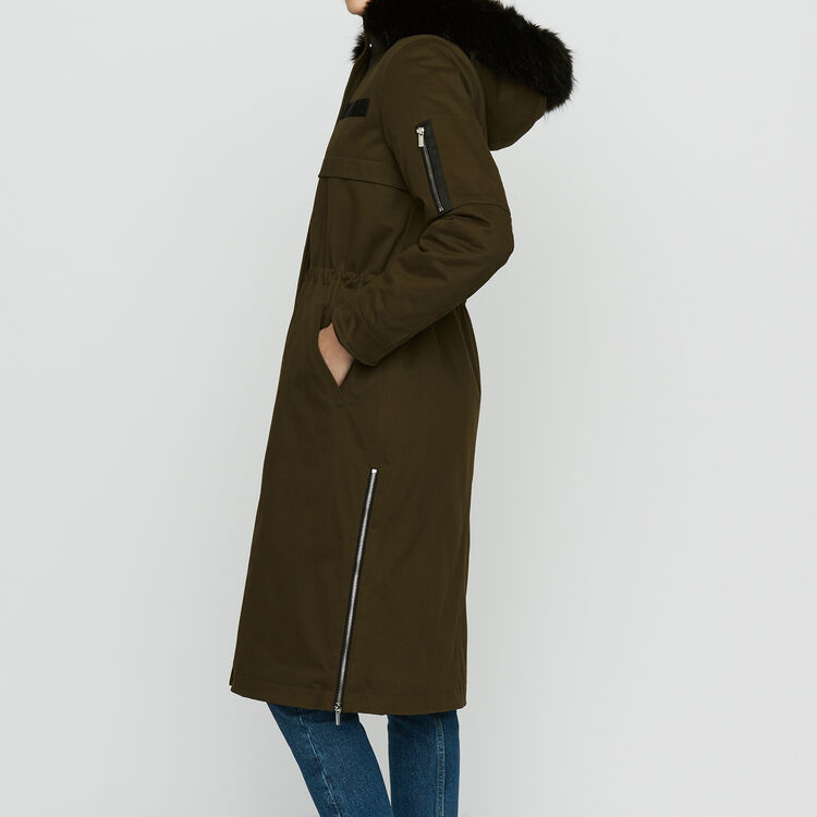 Long parka with hood and faux fur : Coats & Jackets color Black 210
