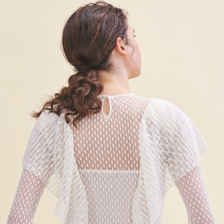 Frilled dotted Swiss top : null color