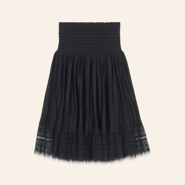 Pleated skirt with dotted Swiss and lace : Skirts & Shorts color Black 210