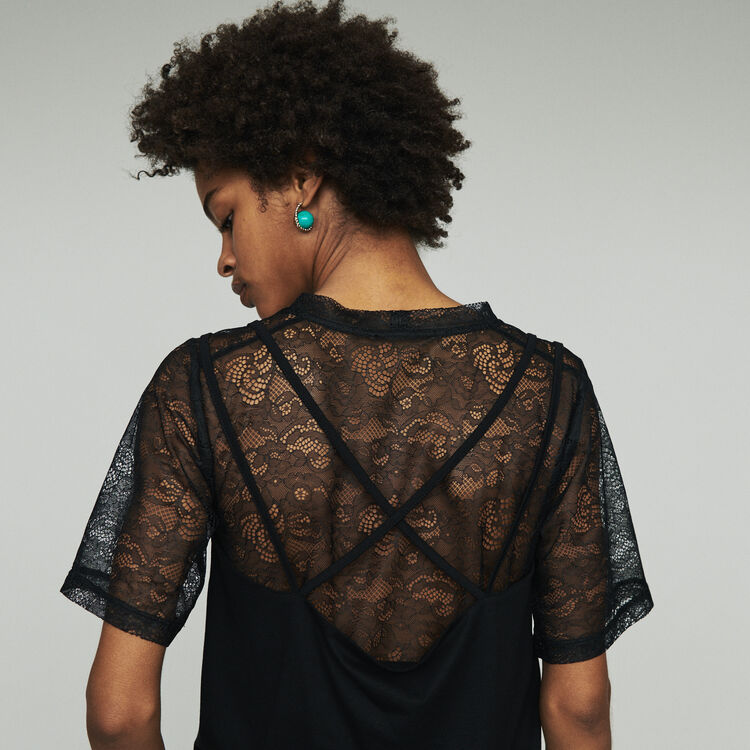 Layered top with lace : Tops & T-Shirts color Black 210