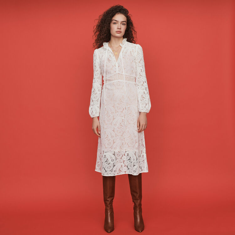 Guipure lace midi dress : Dresses color Ecru
