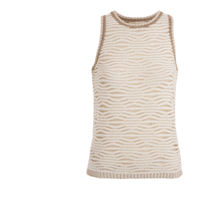 Knitted jacquard and lurex vest top : An invitation to travel color