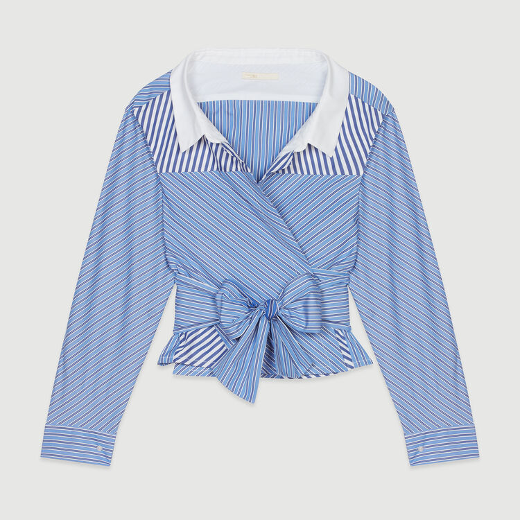 Cropped shirt-style top with tie : Tops & T-Shirts color Stripe