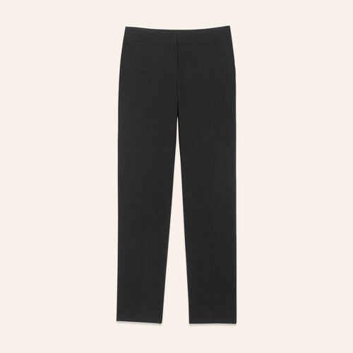 Straight-cut crêpe trousers : Pants & Jeans color Black 210