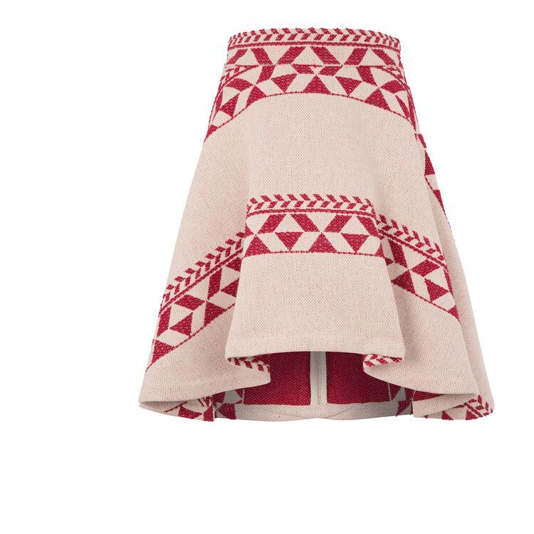 Asymmetric jacquard knit skirt : On the road color