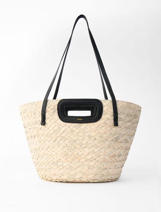 Basket bag in raffia and leather : Large Bags color Black