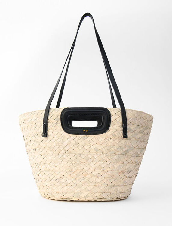 Basket bag in raffia and leather - Large Bags - MAJE