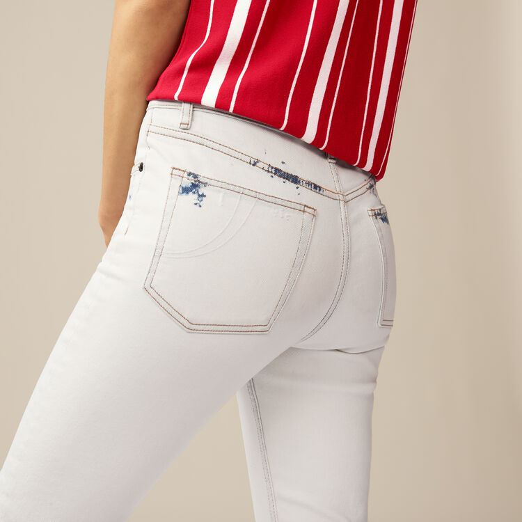 Straight-leg pants with details : Pants & Jeans color White