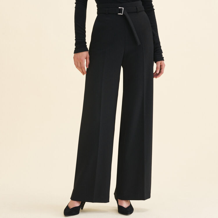 Wide high-waisted trousers : Pants & Jeans color Black 210