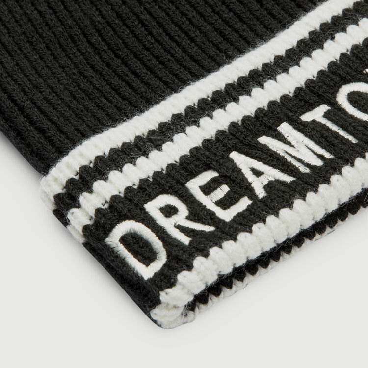 Wool-blend beanie with inscription : Other Accessories color BLACK