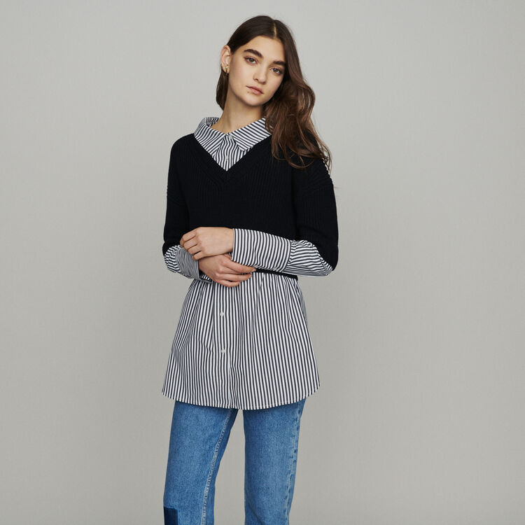 Trompe-l'œil effect cropped sweater : Sweaters color Black 210