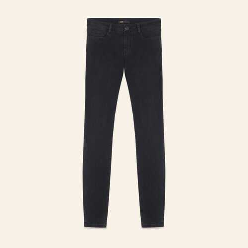 Skinny stretch cotton jeans : Pants & Jeans color Anthracite