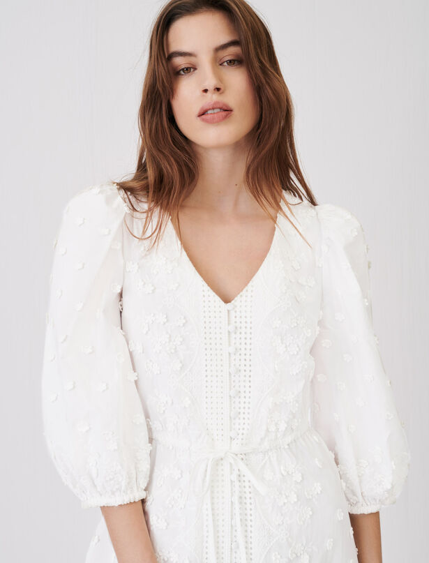 Maje Embroidered dress with gathered waist