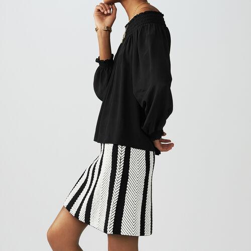 Silk cold-shoulder top : Tops & T-Shirts color Black 210