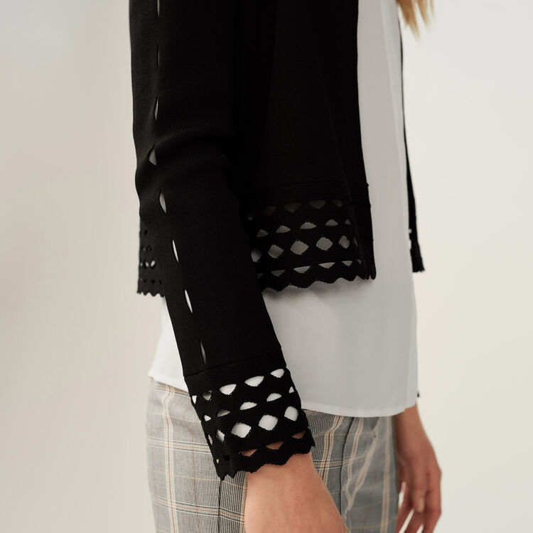Cardigan with open-knit detailing : Sweaters color Black 210