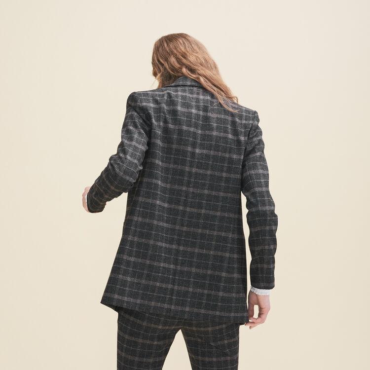 Long tartan jacket : Coats & Jackets color Jacquard