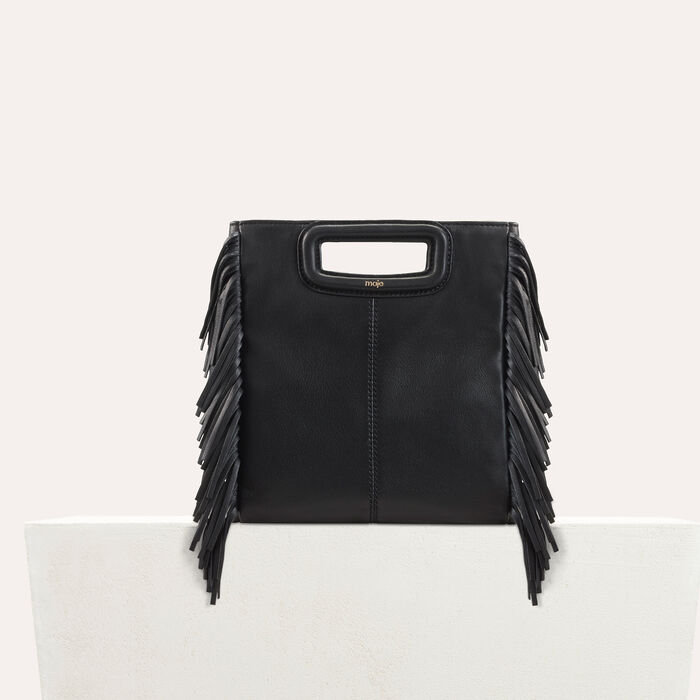 M bag with leather fringes : M Bags color Black 210