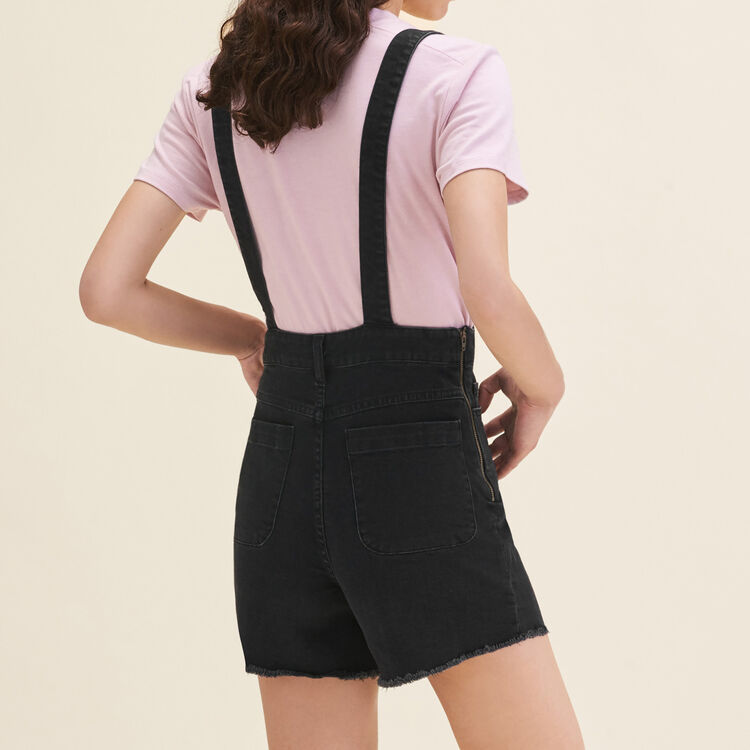 Denim short dungarees : Skirts & Shorts color Black 210