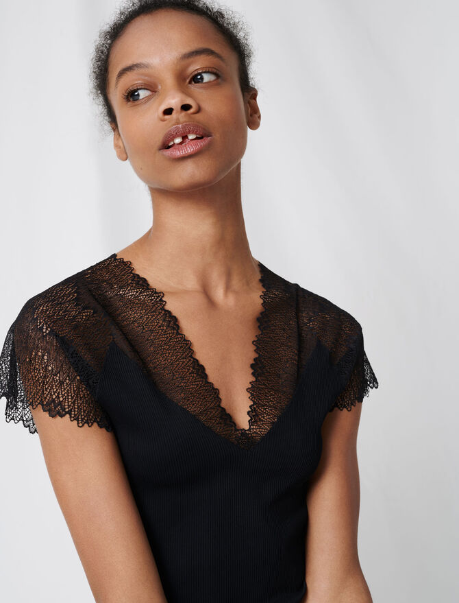 Jersey top with lace trim -  - MAJE