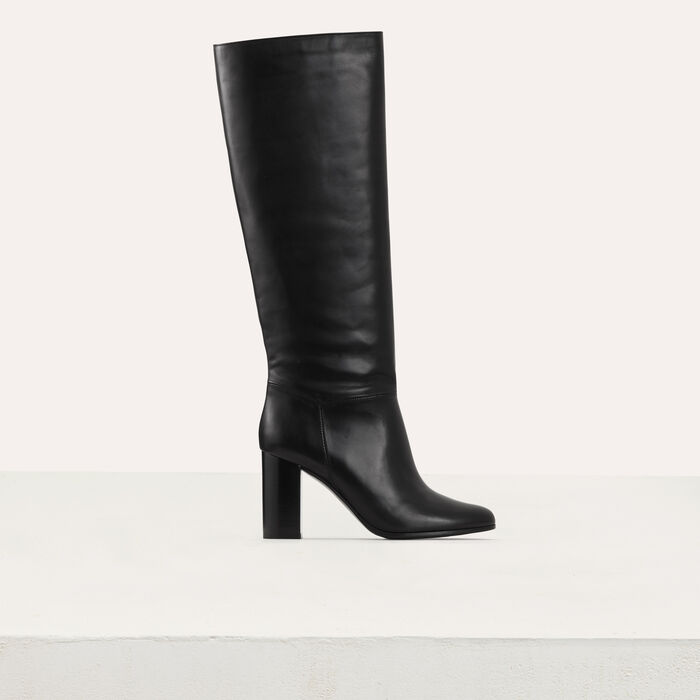 Heeled mid-height leather boots : Shoes & Accessories color Black 210