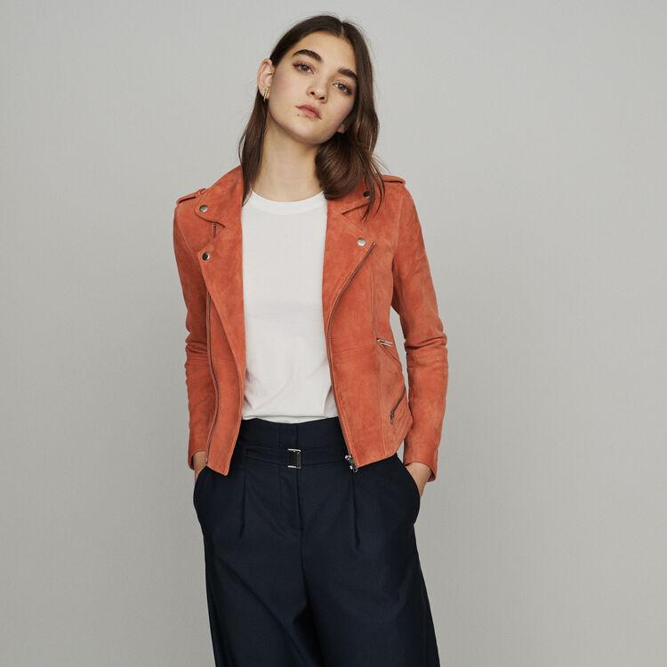 Suede jacket : Coats & Jackets color Coral