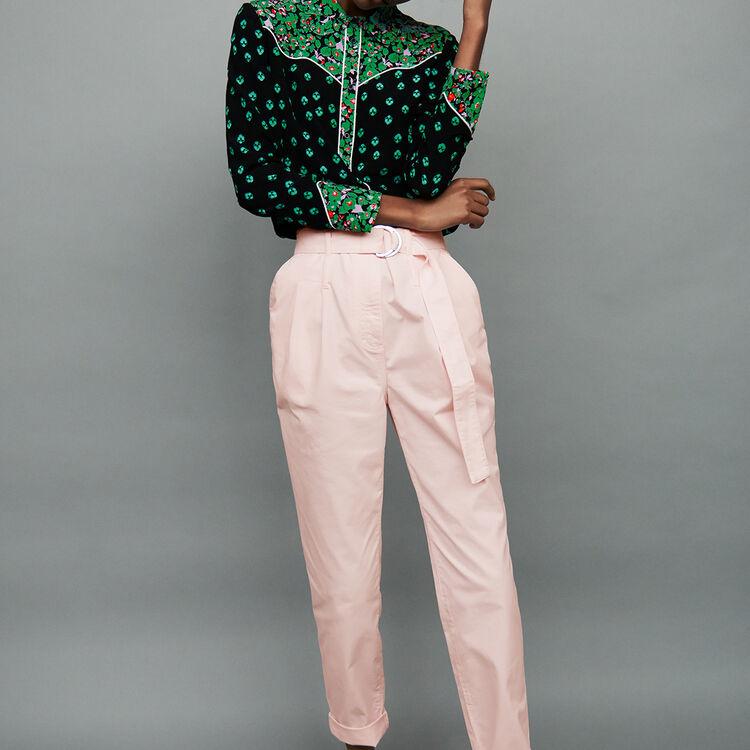 Low-slung belted pants : Pants & Jeans color Pale Pink