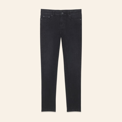 Straight-cut cropped jeans : Pants & Jeans color Black 210