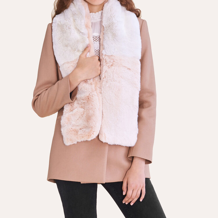 Two-tone faux fur scarf : null color