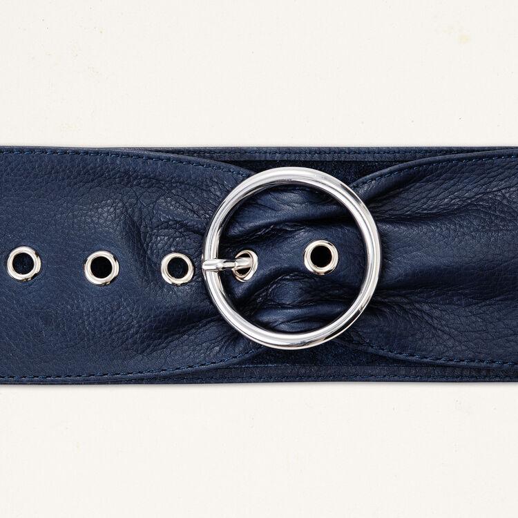 Wide leather belt : Belts color Navy