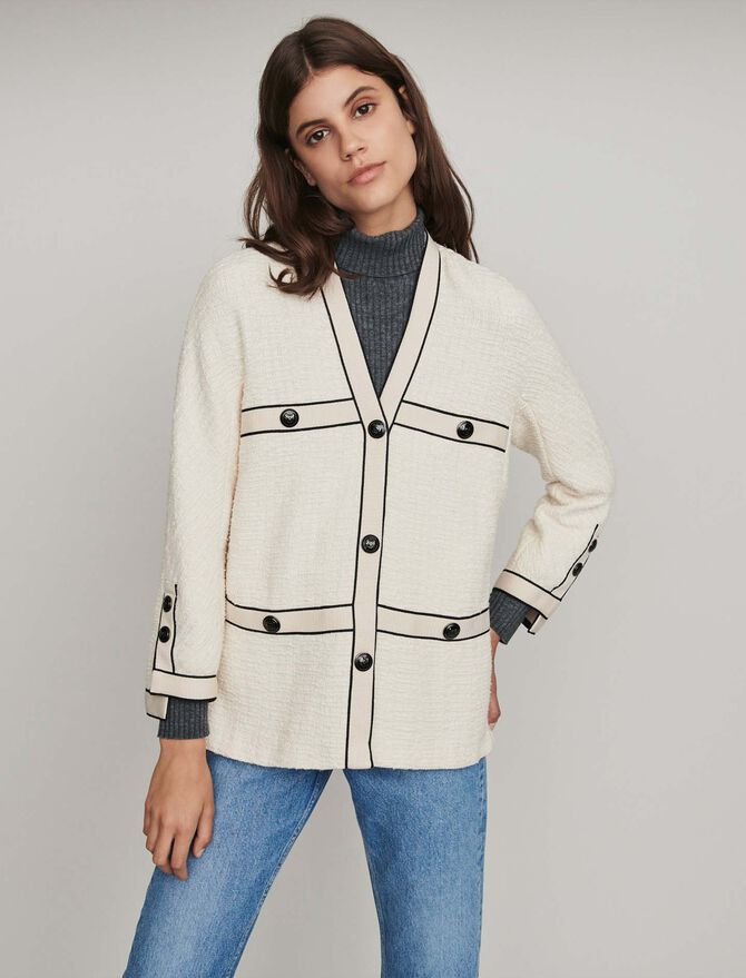 Tweed-style contrast jacket - Coats & Jackets - MAJE